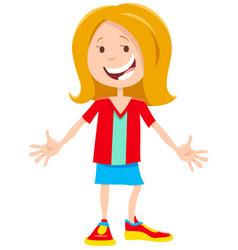 Happy girl character cartoon vector