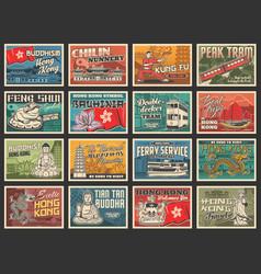 hong kong travel posters asian tourism landmarks vector image