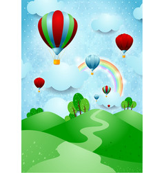 Hot air balloons over the hills vector