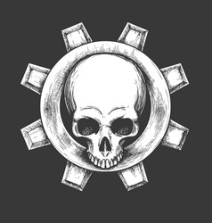 human skull and gear emblem vector image