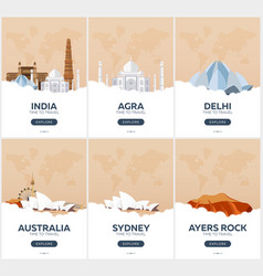 India australia time to travel set of travel vector