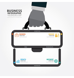 Infographics businessman hand hold business bag vector