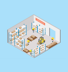 Interior warehouse with worker isometric view vector
