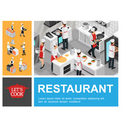 isometric restaurant cooking process composition vector image