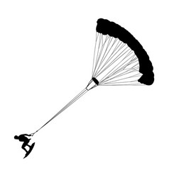 kite surfer waves water sport parachute silhouette vector image