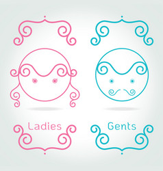 lady and gentleman symboltoilet sign in kids cute vector image