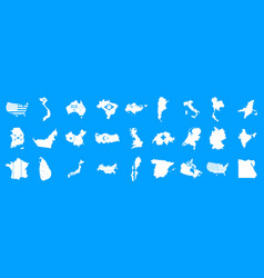 landmark icon blue set vector image