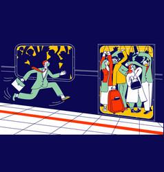 Man character in medical mask run in subway vector