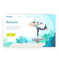 Man stays on a stack stones and balancing yoga vector