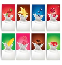 milk splash with different fruits vector image