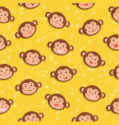 monkey seamless pattern yellow vector image