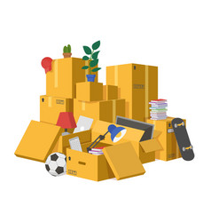 moving boxes delivery cardboard boxes pile vector image