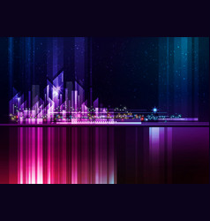 Night city skyline cityscape background vector