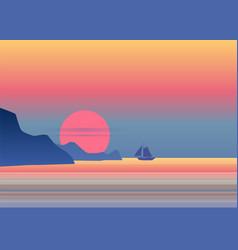 Night moonlight sailboat on blue sea ocean horizon vector