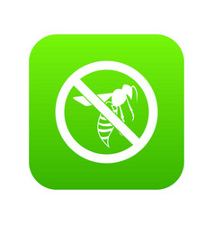 No wasp sign icon digital green vector