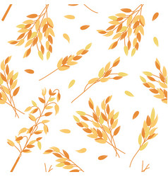 Oat branches seamless pattern vector