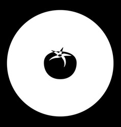 One tomato vegetable simple silhouette black icon vector