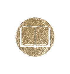 Open book icon with hand drawn lines texture vector image
