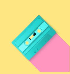 Painted retro turquoise cassette tapes vector
