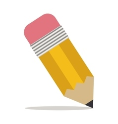Pencil with eraser icon with shadow vector