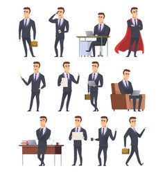 Poses business characters professionals male vector