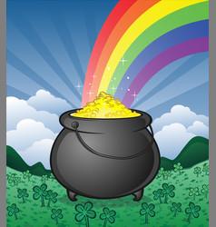 pot gold on saint patricks day vector image