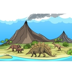 Prehistory with dinosaurs and volcano vector