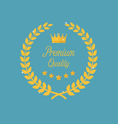 premium quality golden laurel wreath vector image