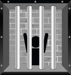 Prisioner in cell in black vector