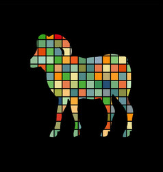 ram farm mammal color silhouette animal vector image