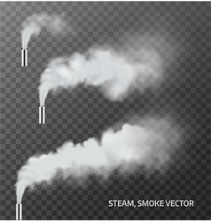 Realistic transparent steam smoke pipe set vector image