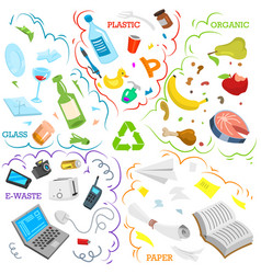 recycling garbage elements sorting and utilize vector image
