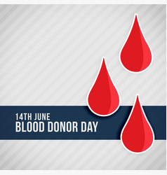 Red blood drops world blood donor day vector