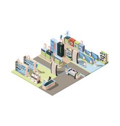 retail electronics market isometric shop interior vector image