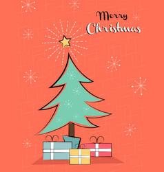retro christmas card vintage pine tree vector image