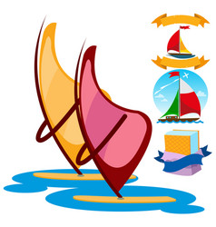 Sailing windsurfing ice cream set of color on the vector