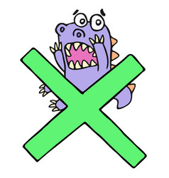 scared purple dragon and big green cross mark vector image