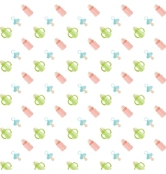 Seamless baby pattern Feeding bottle and nipple vector image