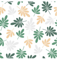 seamless beige and green jungle leaves print vector image