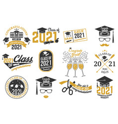 Set class 2021 badges concept vector