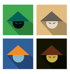Set of asian or chinese conical straw hat vector