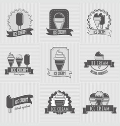 Set of ice cream logo badges labels templates vector