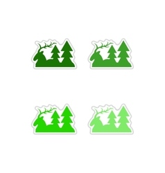 Set of paper stickers on white background deer vector