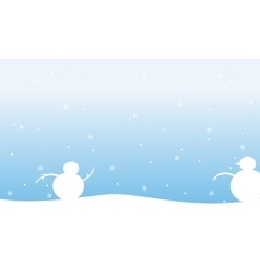 Snowman with snow Christmas landscape vector image