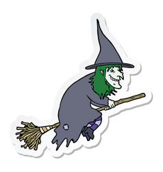 Sticker of a cartoon witch on broom vector