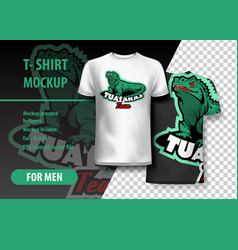 T-shirt mockup with tuataras phrase in two colors vector