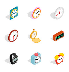 Time equipment icons isometric 3d style vector