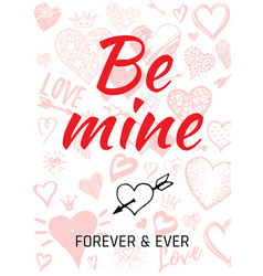 valentine s day card design with heart quote vector image