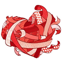 Valentines red heart made from various ribbons vector