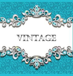 Vintage background frame with precious stones vector
